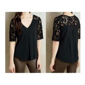 Meadow Rue Anthro Black Lace Pleated Floral Top M